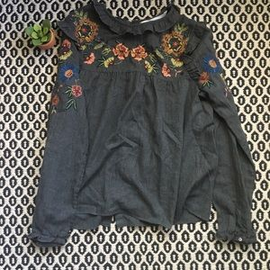 Zara Floral Embroidered Top With Ruffle Detail L